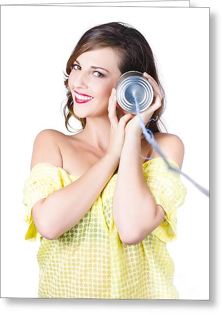 Woman Listening With Tin Can Phone To Ear Greeting Card