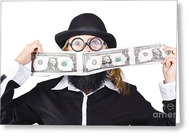 Woman Making Crazy Money Greeting Card by Jorgo Photography - Wall Art Gallery