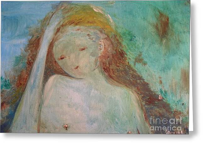 Greeting Card featuring the painting Woman Of Sorrows by Laurie L