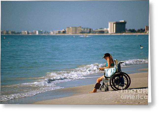Woman On Beach In Wheelchair Greeting Card