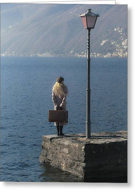 Woman On Jetty Greeting Card by Joana Kruse