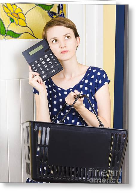 Woman Planning Shopping Budget With Calculator Greeting Card