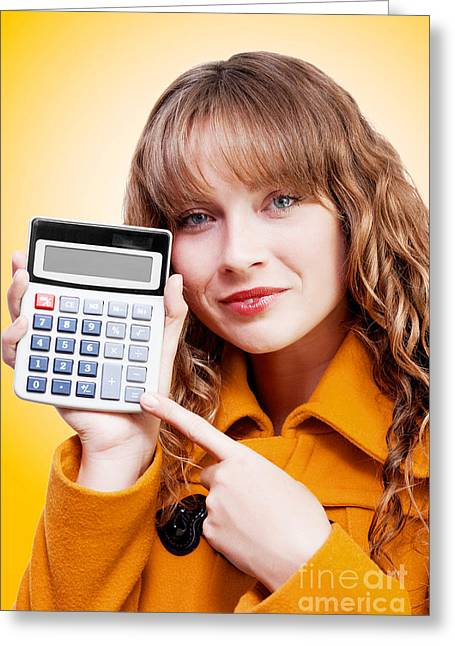 Woman Pointing To Calculator Keypad Greeting Card by Jorgo Photography - Wall Art Gallery