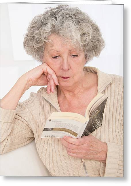 Woman Reading A Book Greeting Card