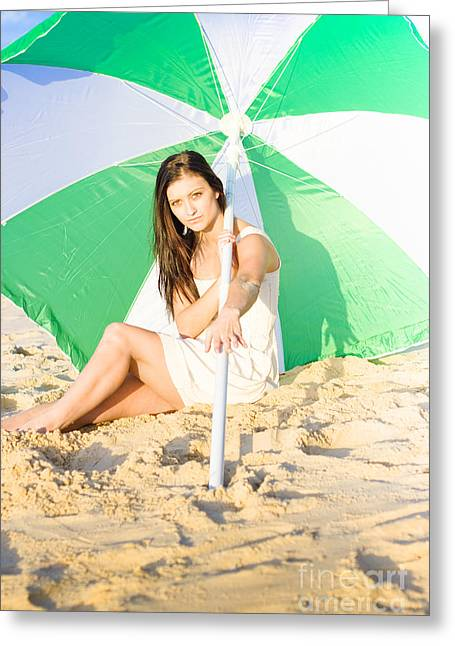 Woman Sitting On Beach With Umbrella Or Parasol  Greeting Card by Jorgo Photography - Wall Art Gallery