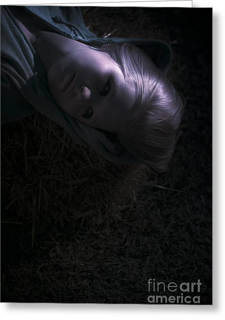 Woman Sleeping Under Moonlight Greeting Card by Jorgo Photography - Wall Art Gallery