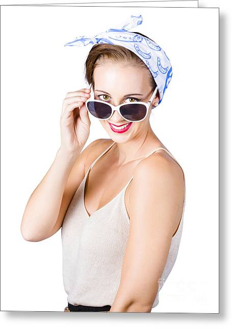Woman Smiling Over Sun Glasses Greeting Card