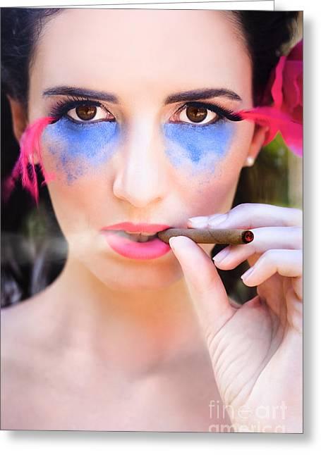 Woman Smoking Cigar Greeting Card by Jorgo Photography - Wall Art Gallery