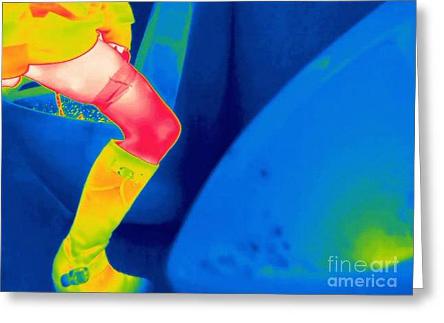 Woman Using A Urinal, Thermogram Greeting Card by Thierry Berrod, Mona Lisa Production/ Science Photo Library