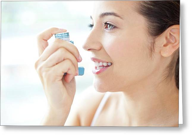 Woman Using An Inhaler Greeting Card