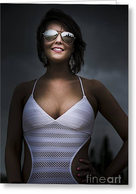 Woman Wearing Sunglasses Greeting Card by Jorgo Photography - Wall Art Gallery