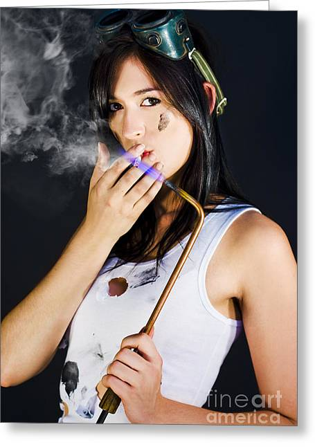 Woman Welding Smoking Cigarette Greeting Card by Jorgo Photography - Wall Art Gallery