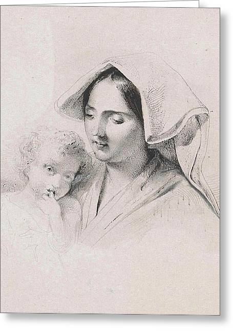 Woman With A Child, Lodewijk Anthony Vintcent Greeting Card