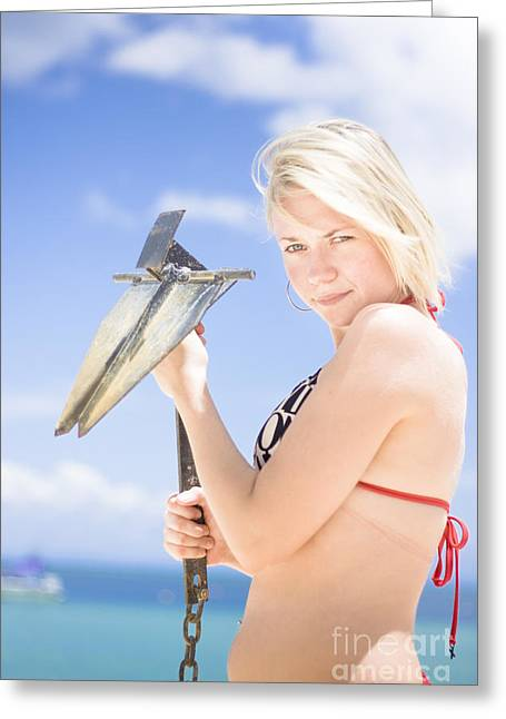 Woman With Anchor On Beach Greeting Card by Jorgo Photography - Wall Art Gallery