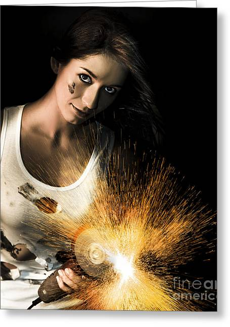 Woman With Angle Grinder Spraying Sparks Greeting Card by Jorgo Photography - Wall Art Gallery