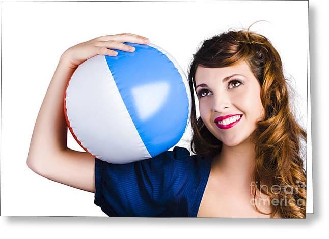 Woman With Beach Ball Greeting Card