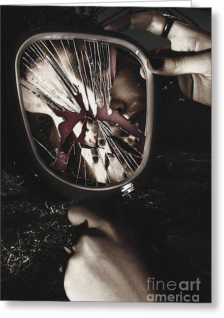 Woman With Broken Mirror And Shattered Reflection Greeting Card by Jorgo Photography - Wall Art Gallery