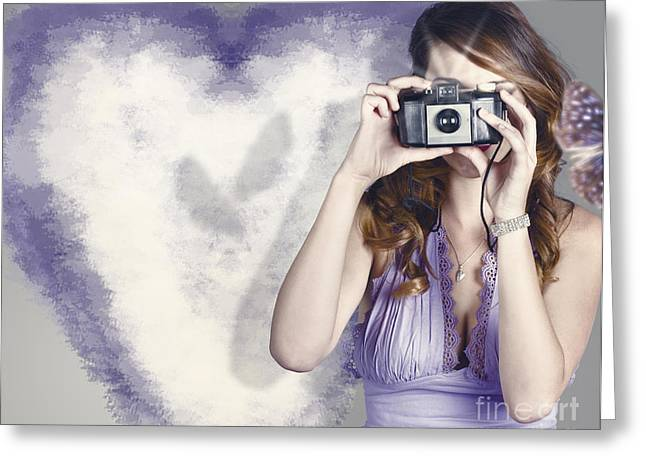 Woman With Camera. Love In A Still Frame Capture Greeting Card by Jorgo Photography - Wall Art Gallery