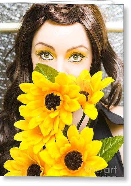 Woman With Flowers Greeting Card by Jorgo Photography - Wall Art Gallery