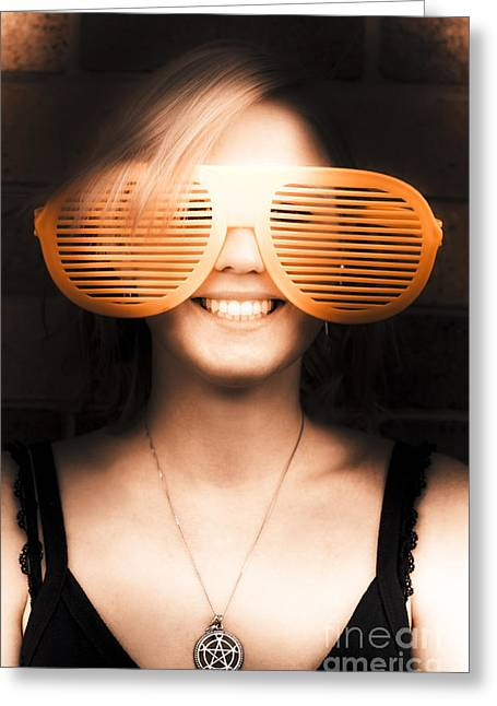 Woman With Funny Sunglasses Greeting Card by Jorgo Photography - Wall Art Gallery