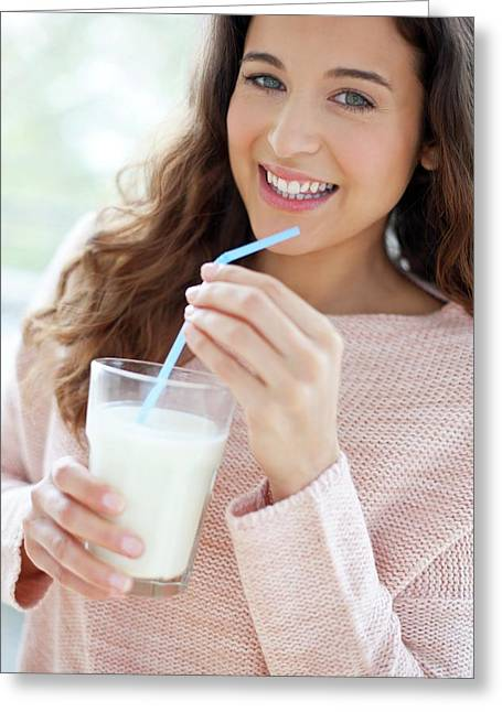 Woman With Glass Of Milk Greeting Card by Ian Hooton