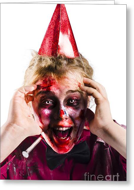 Woman With Horror Make Up And Party Hat Greeting Card by Jorgo Photography - Wall Art Gallery
