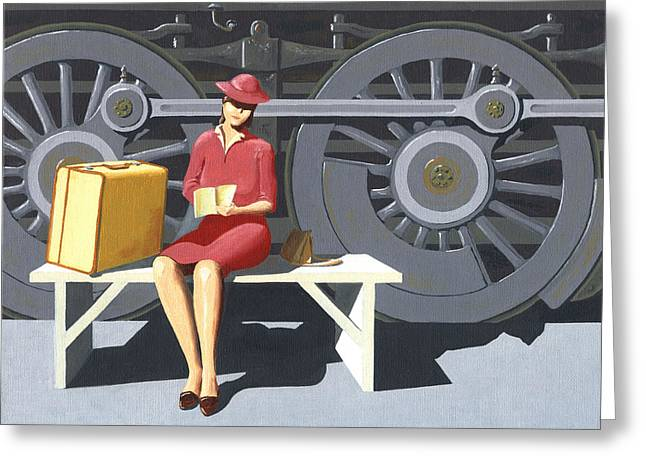 Greeting Card featuring the painting Woman With Locomotive by Gary Giacomelli