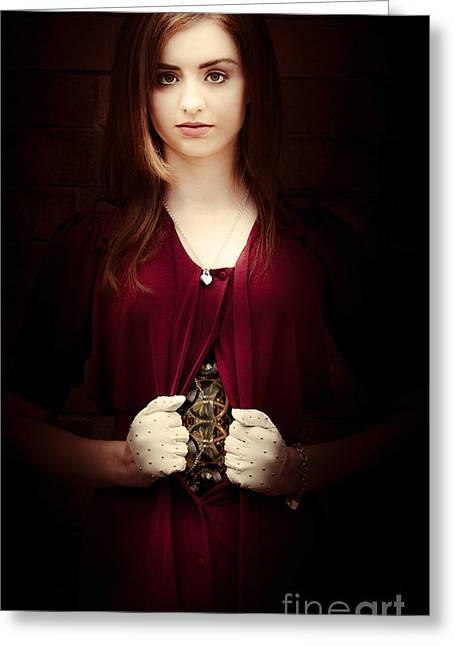 Woman With Mechanical Body Greeting Card by Jorgo Photography - Wall Art Gallery