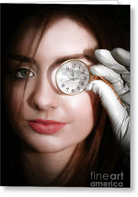 Woman With Monocle Greeting Card by Jorgo Photography - Wall Art Gallery