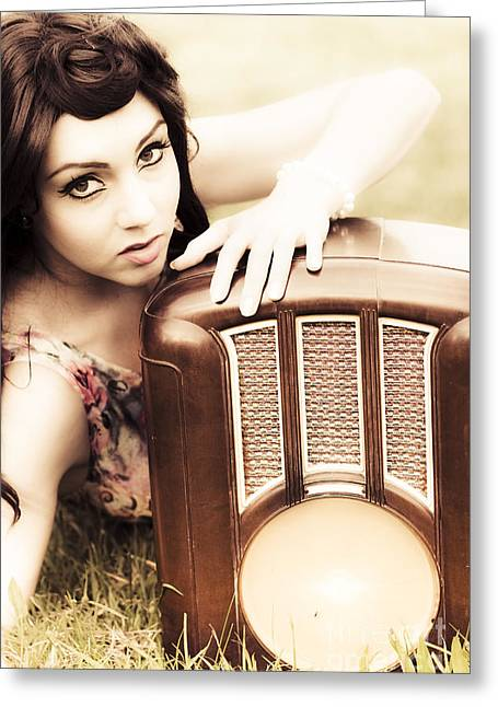 Woman With Retro Radio Greeting Card by Jorgo Photography - Wall Art Gallery