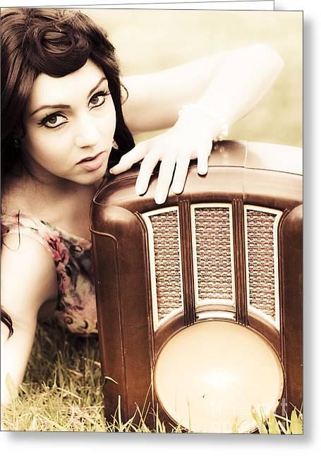 Woman With Retro Radio Greeting Card