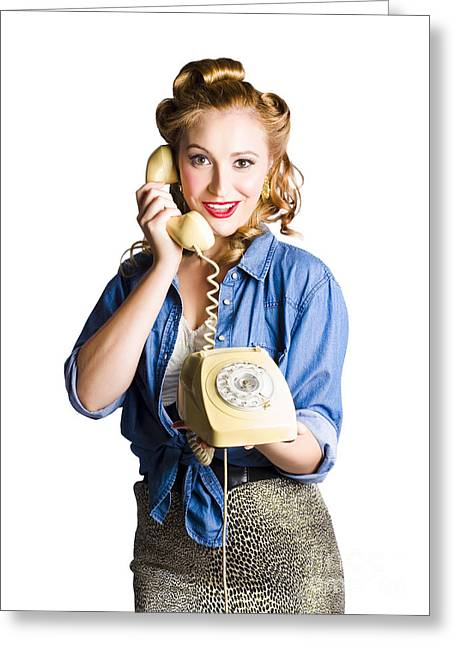 Woman With Retro Telephone Greeting Card by Jorgo Photography - Wall Art Gallery