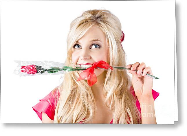 Woman With Rose Between Teeth Greeting Card