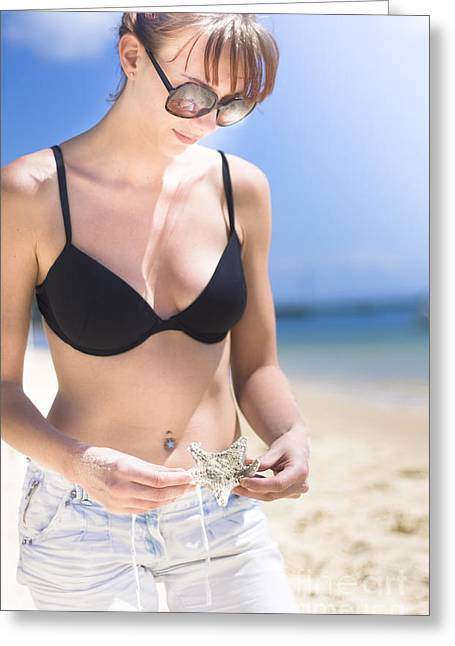 Woman With Starfish On Beach Greeting Card by Jorgo Photography - Wall Art Gallery