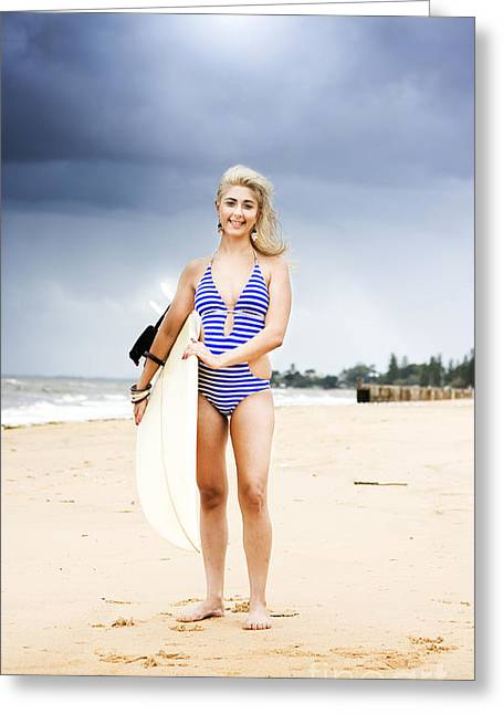 Woman With Surf Board Greeting Card by Jorgo Photography - Wall Art Gallery