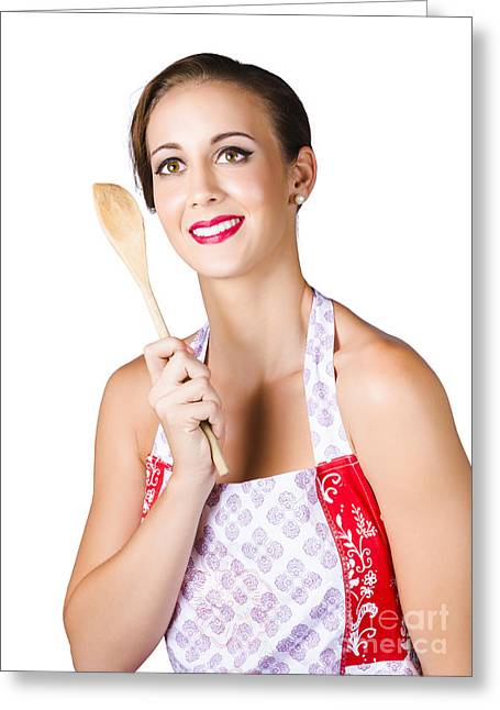 Woman With Wooden Spoon Greeting Card by Jorgo Photography - Wall Art Gallery