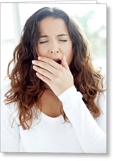 Woman Yawning Greeting Card