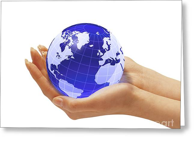 Womans Hands Holding An Earth Globe Greeting Card