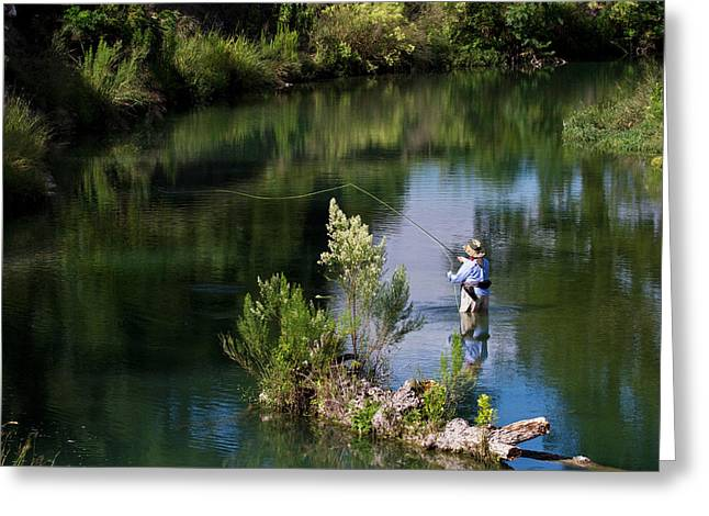 Women Fly-fishing In The South Llano Greeting Card