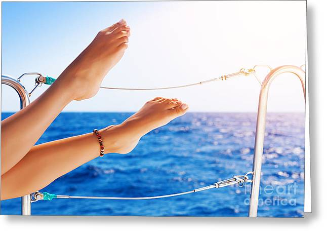 Women's Feet On The Yacht Greeting Card