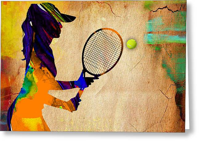 Womens Tennis Greeting Card by Marvin Blaine