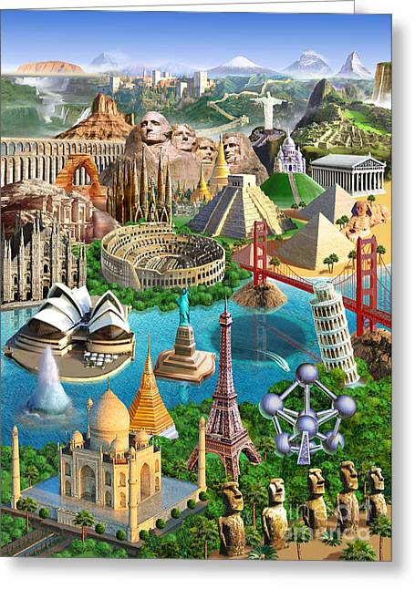 Wonders Of The World Greeting Card by Adrian Chesterman