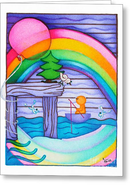 Woobies Character Baby Art Colorful Whimsical Rainbow Design By Romi Neilson Greeting Card by Megan Duncanson