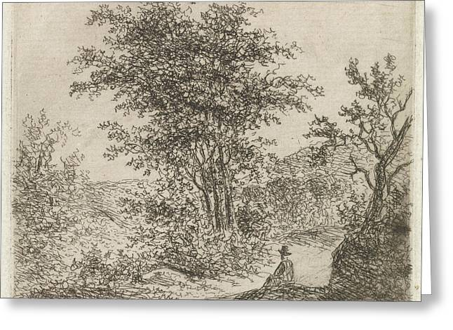 Wooded Landscape With Seated Figure, Johannes Christiaan Greeting Card