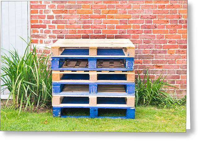 Wooden Pallets Greeting Card by Tom Gowanlock