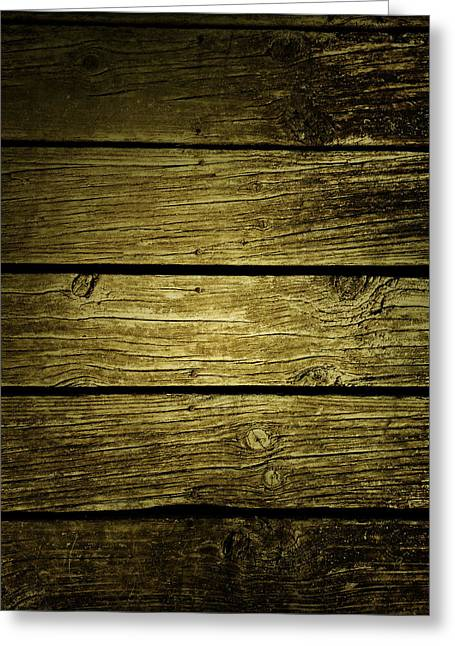 Wooden Planks Greeting Card by Les Cunliffe