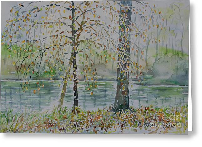 Greeting Card featuring the painting Woodmans Pond by Alfred Motzer