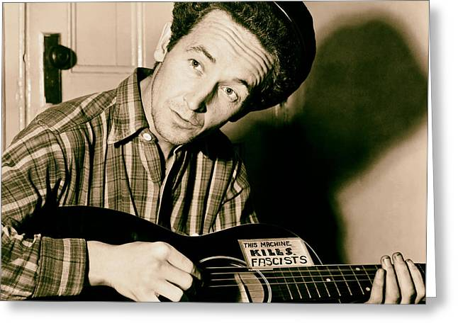 Woody Guthrie 1943 Greeting Card by Mountain Dreams
