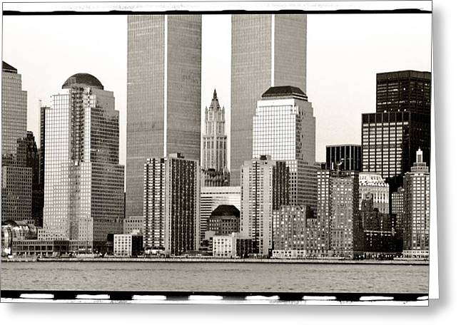 Woolworth Building Between Twin Towers Greeting Card by Frank Winters