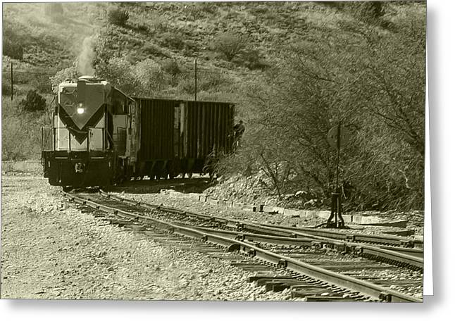 Work Train In Clarkdale Arizona Greeting Card